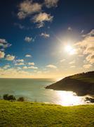 Irish landscape. Coastline atlantic ocean coast scenery. - stock photo
