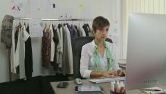 Relax In Office With Female Manager Businesswoman Using Nails File Stock Footage