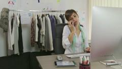 Portrait Female Manager At Work As Fashion Designer In Atelier Stock Footage
