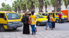 The time-lapse of the busy minibus station if african city Stock Footage