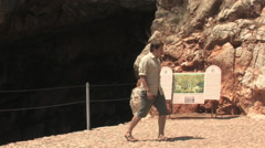 Young Man Walking Banias Ruins and Spring Stock Footage