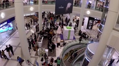Shopper inside Metropolis shopping mall with wide angle shot Stock Footage