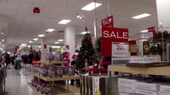 Stock Video Footage of Shopper shopping gift at Sears store inside Metropolis shopping mall