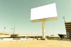 Retro style of blank billboard for advertisement. Stock Photos