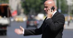 Businessman Talk Cell Phone Stressed Moment Bad News Team Work City Car Traffic Stock Footage