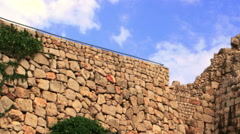 Video panorama of Nimrod Fortress walls shot in Israel. Stock Footage