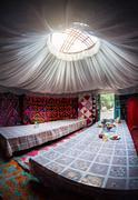 Kyrgyz yurt interior - stock photo