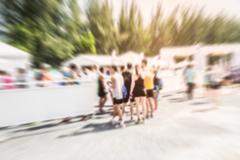 Motion blurred crowd of athlete for marathon - stock photo