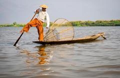 Fisherman in Inle Lake, Shan State, Myanmar (Burma) Stock Photos