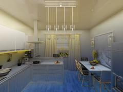 yellow modern kitchen interior 3d concept - stock illustration
