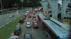 High traffic in the streets of big city of Sao Paulo, Brazil during rush hour tr Stock Footage