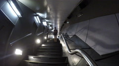 Steep stairwell at top of St. Louis Arch Stock Footage
