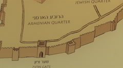 Maps of the Old City of Jerusalem, Israel  Stock Footage