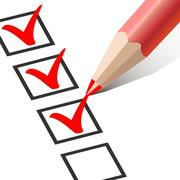 Checkbox with a Red Pencil Stock Illustration