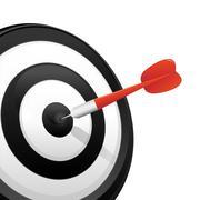 Dart Hitting a Target - stock illustration
