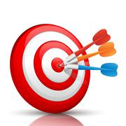 Colorful darts hitting a target Stock Illustration
