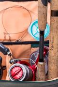 Fishing tackles rods, reel, line and lead Stock Photos