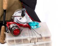 fishing tackles and lure in box - stock photo