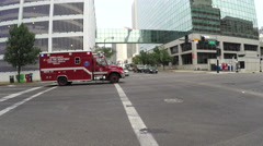 Fire department ambulance with siren Stock Footage
