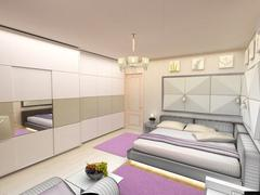 interior 3D bedrooms with bed and a window to the street - stock illustration