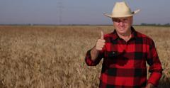 Confident Farmer Satisfied Wheat Growth Thumbs Up Hand Sign Good Rich Harvest Stock Footage