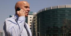Professional Businessman Outside Office Building Cell Phone Talking Job Issues Stock Footage