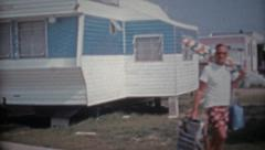 1966: New trailer park subdivision near the beach and summer sun. - stock footage