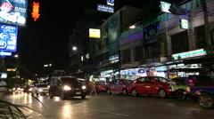 timelapse of night BKK city traffic - stock footage