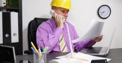 Project Engineer Disappointed Verify Building Plans Phone Architect Discussion Stock Footage