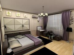 Interior 3D bedrooms with bed and a window to the street Stock Illustration
