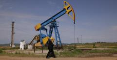 Environment Protection Ministry Inspector Walk Oil Pump Field Take Agenda Notes Stock Footage