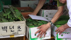 Boxes Of Vegtables South Korean Street Market Stock Footage