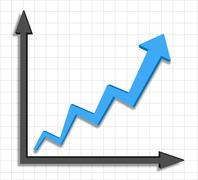Growth Progress Blue Arrow Graph - stock illustration