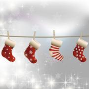 Hanging Christmas socks on a clothesline Stock Illustration