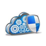 Cloud Computing with Security Shield Stock Illustration