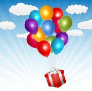 Red Gift Box with Balloons in the Blue Sky - stock illustration