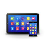 Stock Illustration of Tablet Computer and Touchscreen Smartphone