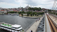 Istanbul from the bridge. Suleymaniye Mosque in the background. Timelapse Stock Footage