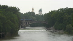 Bridge over the Isar River, Munich Stock Footage
