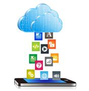 Smartphone Downloading Files from Cloud Computing - stock illustration