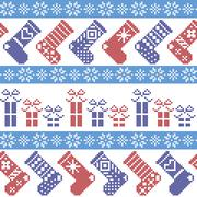 Dark blue, light blue and red Christmas pattern with stockings, stars Stock Illustration