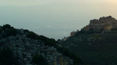 Nimrod Fortress overlooking the valley shot in Israel. Stock Footage