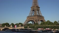 4K Eiffel Tower Paris Boats Seine River Day View Traffic Tourists Traveling Tour Stock Footage