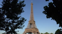 Stock Video Footage of 4K Tour Eiffel Paris France European Famous Monument Tower Day View Landmark