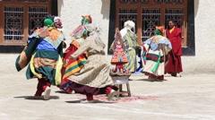 Lamas in mystical mask perform ritual Tsam dance. Lamayuru, Ladakh, India Stock Footage