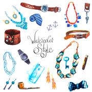 watercolor illustration Set Accessories - stock illustration