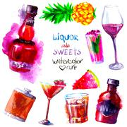 Alcohol and sweets. watercolor Stock Illustration
