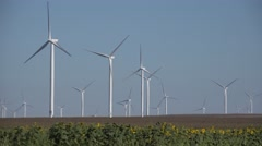 4K Windmills Wind Turbine in Agriculture Field View Generator Power, Electricity Stock Footage