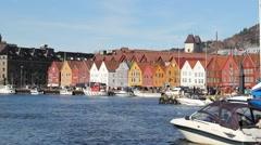 Closer Shot of Bryggen Harbor in bergen, Norway Stock Footage