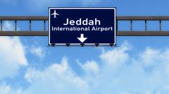 Stock Illustration of Jeddah Airport Highway Road Sign 3D Illustration